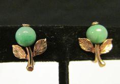 Vintage Estate Ming's of Honolulu Dainty Apple Green Jade Earrings by Alohamemorabilia