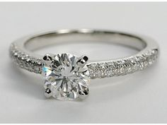 Trio Micropave Diamond Engagement Ring in Platinum | Blue Nile