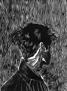 Visceral Instinct (black), linocut, Zoey Fleck, Date n/a Lino Art, Woodcut Art, Linocut Prints, Art Prints, Gravure Illustration, Illustration Art, Gravure Photo, Linoprint, 3d Studio