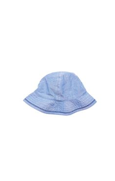 our chambray sun hat with embroidery will keep the sun out. Pair with our rosie romper for the complete spring look