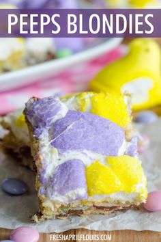 Peeps Blondies: Buttery, chewy blondies filled with milk chocolate m&m's and topped with gooey, melted Peeps. Perfect for Easter! | peeps recipes desserts | easter dessert ideas