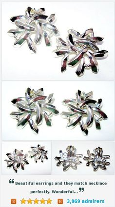 """Charel Silver Earrings Clip On Abstract Style Silver Plated Metal BIG 1.5"""" Vintage1940s-50s https://www.etsy.com/listing/471089623/"""