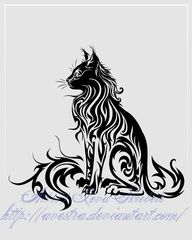 Sitting Cat Tribal Tattoo -  Great Tattoo Ideas and Pictures Enjoy! http://www.tattooideascentral.com/sitting-cat-tribal-tattoo/