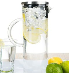 bobuCuisines Elegant Chill Water Pitcher  Stunning Scandinavian Design  Premier Quality Borosilicate Glass Pitcher  Stainless Steel Lid  1300ml44oz -- You can find out more details at the link of the image.Note:It is affiliate link to Amazon.