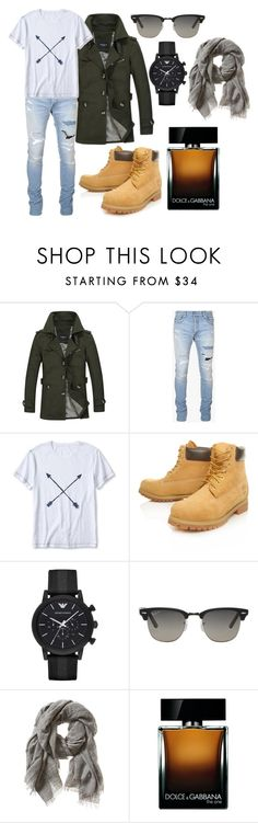 """L"" by hannahjerao on Polyvore featuring Balmain, Banana Republic, Timberland, Emporio Armani, Ray-Ban, Dolce&Gabbana, men's fashion and menswear"