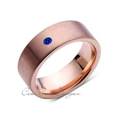 8mm,Mens,Blue Sapphire,Brushed,Rose Gold,Tungsten Ring,Pipe Cut,Wedding Band,Comfort Fit