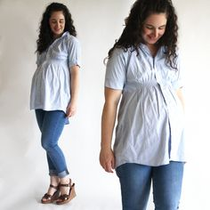 shirred maternity tunic top from husband's old work shirt-- making this next week!
