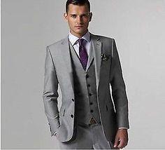 2014 Light Grey Two Button Notch Lapel Groom Tuxedos Bridegroom Best Man Suit