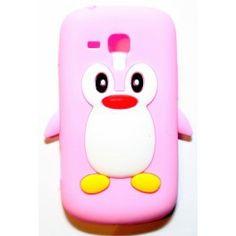 Galaxy Trend vaaleanpunainen pingviini silikonisuojus.