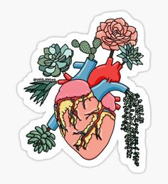 'Succulent heart by Sasa Elebea' Sticker by Sabrina Brugmann Tumblr Stickers, Love Stickers, Printable Stickers, Laptop Stickers, Illustration Inspiration, Medical Wallpaper, Cute Notes, Aesthetic Stickers, Greys Anatomy