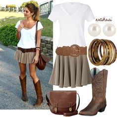 Cute Country Outfit - I think I'd want the skirt a little longer, but I love the colors! #Country #Outfits