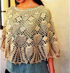 Capa crochet Piña  Hermosa capa de ganchillo usando puntada piña. Ideal para vestir en las mañana. No te pierdas este esquema.   Hola amig...