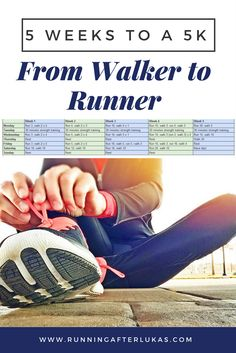 Wanting to get into or back into running but not really sure how? A 5K is a great place to start. Here is a training plan designed just for that. For the beginner or for just getting back into running: 5 Weeks to a 5K from Walker to Runner