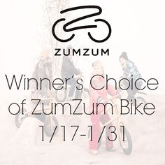 ZumZum Bike Giveaway  Prize: Winner's Choice of Bike with 10″ or 12″ Wheels ZumZum is a new kind of balance bike for children as young as 18 months. It has no pedals and teaches your child to ride a bicycle at self adjustable speed.  Dates: 1-17-2015 - 1-31-2015 Open to: United States residents 18+ Do you know a child who would want a ZumZum Bike?