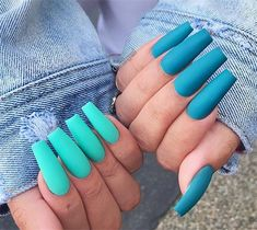 There are many kinds of blue nail art designs, which are also one of the most popular nail colors. In previous articles, we have introduced the art design of Dark Blue Nails, Navy Blue Nails and Blue Sparkle Nails, which are welcomed by women. Summer Acrylic Nails, Best Acrylic Nails, Acrylic Nail Designs, Summer Nails, Spring Nails, Acrylic Colors, Bright Nails For Summer, Nail Ideas For Summer, Coral Acrylic Nails