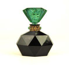 ART Deco Czech Malachite Bejeweled Glass Ingrid Perfume Bottle Hoffman Schlevogt | eBay