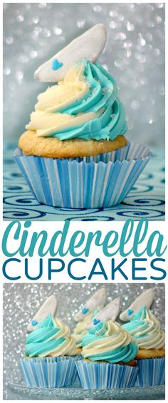 Disney's Cinderella cupcakes are inspired by Princess Cinderella and her glass slipper. Perfect for Cinderella themed parties & those who just love Disney! Milk Recipes, Best Dessert Recipes, Cupcake Recipes, Fun Desserts, Cupcake Cakes, Cupcake Ideas, Cup Cakes, Easy Recipes, Cinderella Cupcakes