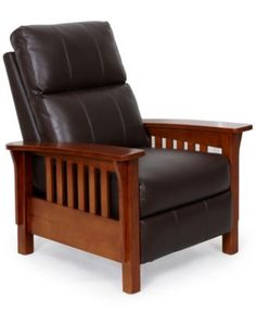Harrison Leather Recliner Chair x x - Recliners - furniture - Macy's Craftsman Furniture, New Furniture, Furniture Design, Farmhouse Recliner Chairs, Craftsman Living Rooms, Woodworking Furniture, Furniture Online, Chair Design, Bedrooms