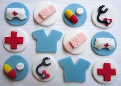 To use as cupcake toppers when my nursing school friends graduate. Fondant Cupcake Toppers, Deco Cupcake, Cupcake Party, Nurse Cupcakes, Themed Cupcakes, Cupcake Cookies, Graduation Cupcakes, Cake Decorating Tips, Cookie Decorating
