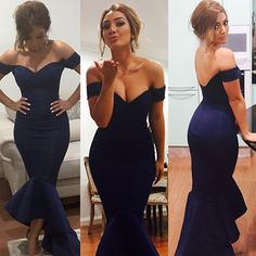 Off the Shoulder Mermaid High Low Prom Dresses under $50 Cheap Fitted Elastic Formal Gown Evening Party Dress robe de soiree
