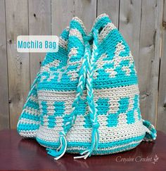 Crochet this mochila inspired backpack using Bernat Maker Home Dec yarn. Free pattern by Croyden Crochet.