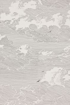 Ballpoint pen art / black and white illustration / ink / line artwork / clouds and birds / sky landscape Cloud Wallpaper, Dark Wallpaper, Modern Wallpaper, View Wallpaper, Summer Wallpaper, Modern Color Palette, Modern Colors, Art Grunge, Gfx Design