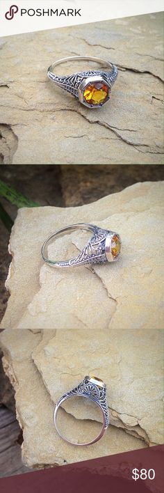Boho vintage style citrine sterling silver ring Beautiful 1CT citrine in a solid sterling silver setting. Jewelry Rings