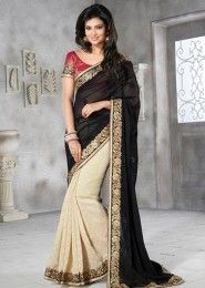 Fine Georgette Black Designer Saree