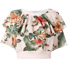Philosophy Di Lorenzo Serafini floral print ruffled blouse ($265) ❤ liked on Polyvore featuring tops, blouses, flower print blouse, flounce tops, floral print blouse, multi color blouse and ruffle top