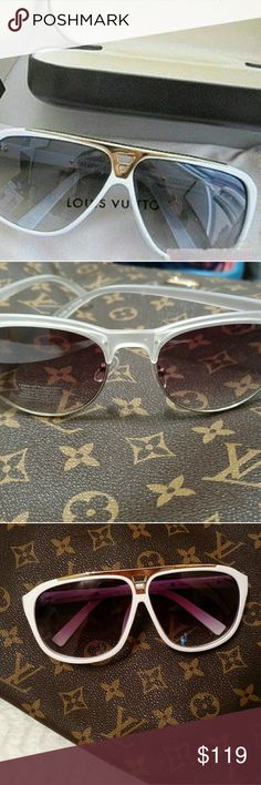 New White Fashion Logo Sunglasses Brand new L.V Sunglasses. White frames with gold logo on side. Amazing quality. Not A.uth. price is reflective. No box included. Accessories Sunglasses