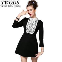 S- 5XL Fall  White Collar Black  Mini Dress Front Luxury Beading Constrast Color Slim Cut Long Sleeve