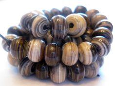 Handmade Striated Silvered Ivory Lampwork Beads