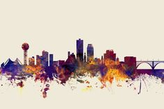 United States Print featuring the digital art Knoxville Tennessee Skyline by…