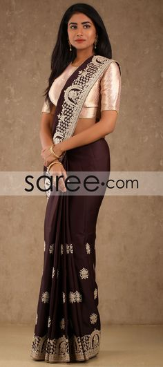 BROWN SAREE WITH EMBROIDERY WORK