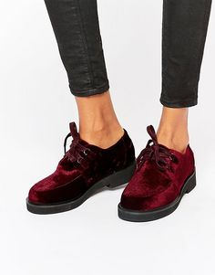 ASOS   ASOS MALONE Velvet Flat Shoes