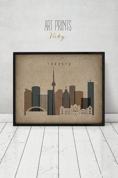 Toronto art print, Toronto skyline, travel poster, Wall art, Vintage style print, Canada cityscape Home Decor Fine Art print, ArtPrintsVicky