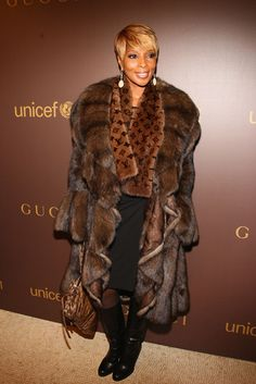 Mary J Blige - Wearing fur is wrong. CS. supports PETA in its pursuit of banning fur worldwide.