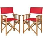 Laguna Teak and Red Folding Director's Chair (Set of 2), Brown/Red