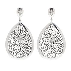 Large 18kt White Gold Teardrop Earrings with Black Accents and Scattered Diamonds with TCW of 4.34ct