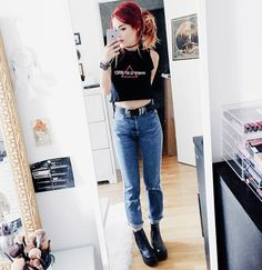 Latest Casual Outfits - LE HAPPY : LE HAPPY. Crop top+jeans+plattform booties. Summer outfit 2016