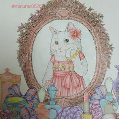 "95 Likes, 5 Comments - MINA (@minamo0520) on Instagram: ""鏡のフレームは木彫りのイメージ☺ 容器とか塗るの難しい…苦手だー #幸せのメヌエット #menuetdebonheur #江種鹿乃子 #egusakanoko #大人の塗り絵 #大人のぬりえ…"""