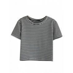 Choies Monochrome Stripe Short Sleeve Cropped T-shirt ($11) ❤ liked on Polyvore featuring tops, t-shirts, white, stripe t shirt, crop tee, white crop tee, short sleeve tee and white stripes t shirt