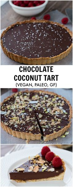 A decadent chocolate raspberry tart that starts with a chewy coconut almond crust and is filled with creamy chocolate coconut ganache. Recipe is gluten free and vegan: