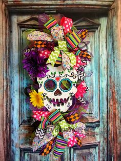 Sugar Skull Day of the Dead Halloween Floral Decomesh Swag