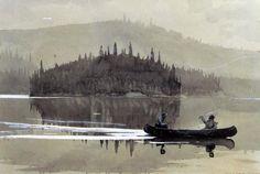 Winslow Homer(American, 1836-1910), Two Men in a Canoe, 1895, Watercolor