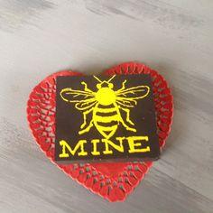 Handmade wooden Valentines Day Sign-Bee Mine-Ready by sunnydayz5