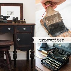 TO BUY PAINT: Typewriter is the black in our line. Marian describes it as an off-black or   soft black. It is named for the black colour traditionally found on antique   typewriters.    Mix Typewriter with any of the colours in the line to make them darker and   more muted. For example, when mixed with Boxwood, a