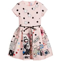 Girls fun, pink dress by Simonetta, featuring a travel-inspired print of suitcases, postcards and cameras. Made in soft, cotton sateen, it has ivory, sequinned star appliqués on the fitted bodice and a narrow, black, grosgrain ribbon around the waist, tying in a bow at the front. The pleated skirt has a lining with a tulle frill, to give extra volume. It fastens at the back with a concealed zip.