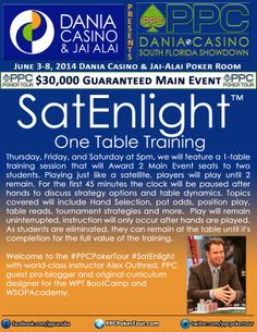 The all new SatEnlight One Table Training program with Alex Othred.  Come to Dania Casino on 6/5, 6/6 & 6/7 for one table training in this new and creative approach to poker training!