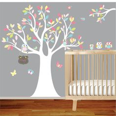 Vinyl Wall Decal Stickers Owl Tree Set with Custom Name Nursery Girl Baby. $145.00, via Etsy.